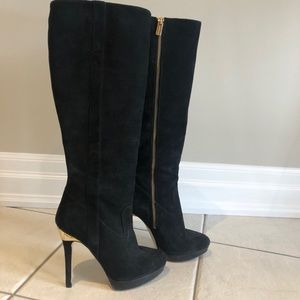 Michael Kors Knee High Black Suede Heeled Boots